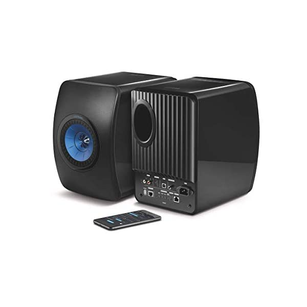 KEF LS50W - SP3903BA - Enceinte sans fil - Enceintes actives | HiFi | Airplay 2 Enceintes | Spotify Connect, TiDAL | LS50 Meilleur système de musique active et système stéréo - Noir/Bleu 1