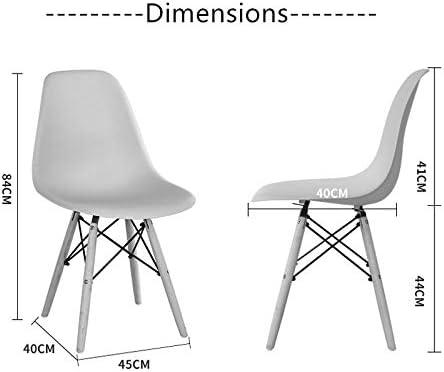 Chaise de salle à manger en forme de coquille en plastique gris moderne avec pieds de chaise en bois massif for la salle à manger, salon, maison ou bureau