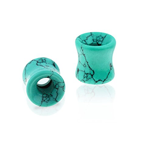 Stone Tunnel - PAIR of Teal, Pink or Green Howlite Stone Tunnels Plugs Gauges Earlets Body Jewelry (Teal - 6g (4mm))