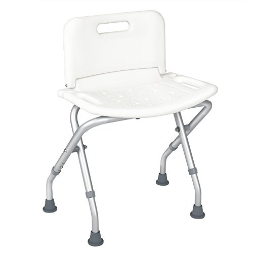 Shower Chair Travel Portable Folding Bath Seat With Back For Disabled Elde