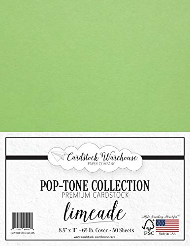 Limeade Green Cardstock Paper - 8.5 x 11 inch 65 lb. Cover -50 Sheets from Cardstock Warehouse ()
