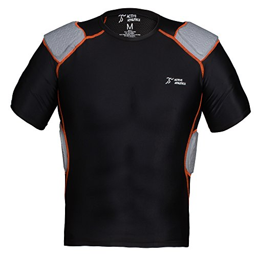 Homme Football Padded 5 shirt Active T Pour shirt nbsp;pad Noir Athletics T cRUXf4WSa