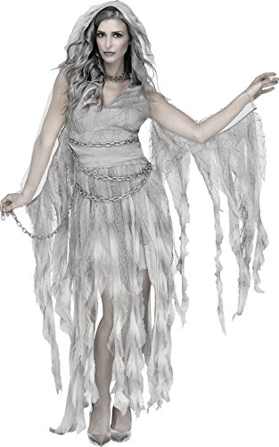 Grey Ghost Costume (UHC Women's Enchanted Ghost Outfit Haunting Beauty Fancy Dress Halloween Costume, S/M (2-8))