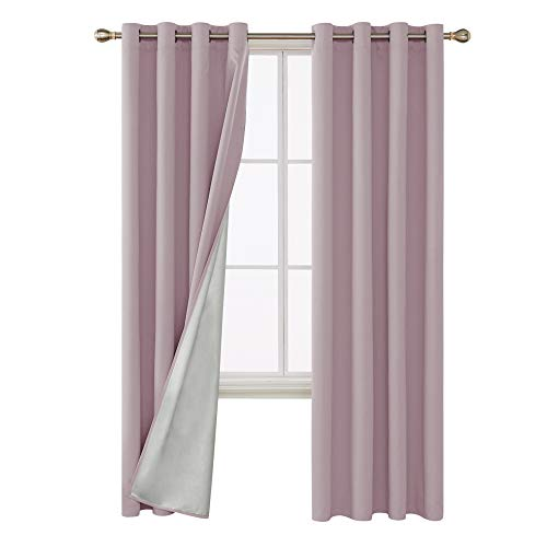 Deconovo Blackout Curtains Room Darkening Thermal Insulated Light Blocking Drapes with Silver Coating for Nursery 52W x 84L Inch Pink Lavender Set of 2 Panels -