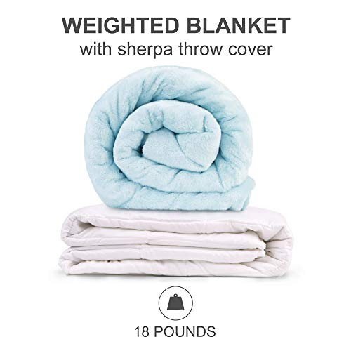 "Sleep Philosophy Ultra Soft Warm Plush Poly And Beads Filling Relaxing Zipper Cover Pressure Gravity Weighted Blanket For Adults Anxiety Better Sleep, 60X70""-18Lbs, Blue"