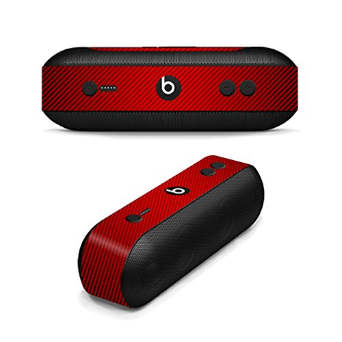 MightySkins Skin Compatible with Beats by Dr. Dre Pill Plus - Red Carbon Fiber | Protective, Durable, and Unique Vinyl Decal wrap Cover | Easy to Apply, Remove, and Change Styles | Made in The USA