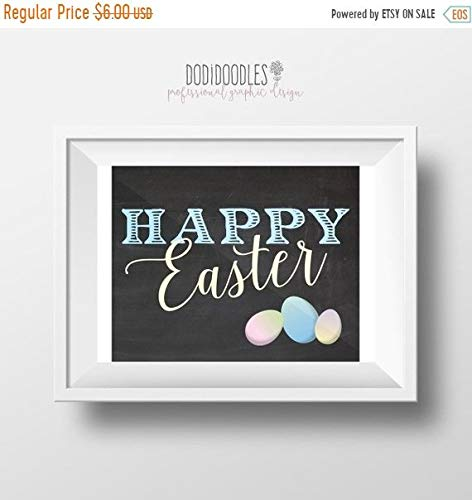Home Printable Decor (TimPrint Happy Easter Chalkboard 12x16 Spring Chalkboard Easter Egg Print Easter Home Decor Springtime Printable Framed Print)