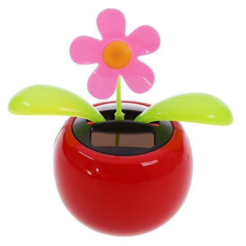 SODIAL(R) Car Rose-red Cute Flip Flap Swing Solar Flower Swing Flap