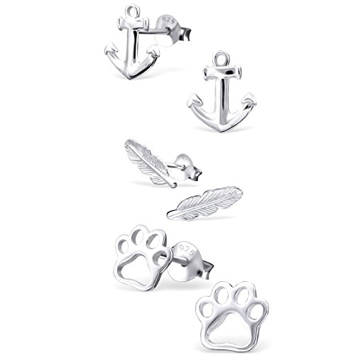 925 Sterling Silver Hypoallergenic Set of 3 Pairs Anchor, Feather, Paw Print Stud Earrings for Girls and Womens (Nickel Free) 20509