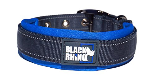 Black Rhino - The Comfort Collar Ultra Soft Neoprene Padded Dog Collar for All Breeds - Heavy Duty Adjustable Reflective Weatherproof (Medium, Blue/Grey)