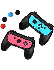 iAmer Joy-Con Grip Contrôleur Kit pour Nintendo Switch Joy-Con Grip Contrôleur Kit, résistante à l'usure Kits de poignée pour Nintendo commutateur Joy-con contrôleurs Lot de 2 (Noir)+4 Pouce Grip