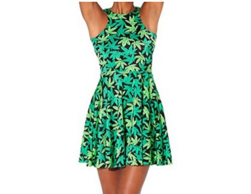 Neon Nation Green Weed Marijuana Print Pleated Short Dress (M)