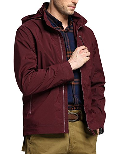 Zip Men's Trench Red Up Loose Wine Lapel Coat Short Yeokou Solid Color Jacket Hood gXgdfq