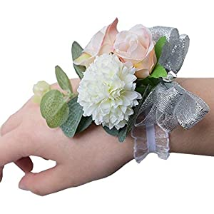 Zippersell Wedding Bride Wrist Corsage Bridesmaid Wrist Flower Corsage for Wedding Prom Party Homecoming (Pack of 4) 43