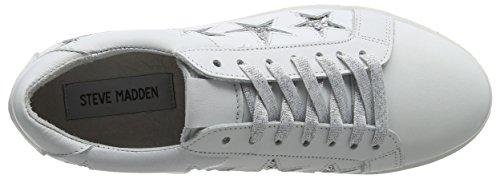 Steve Madden Baabs Sneaker, Sneaker Basse Donna Bianco (White/Silver Glitter)