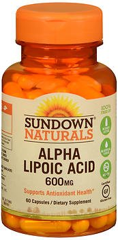 Sundown Naturals Super Alpha Lipoic Acid 600 mg Capsules - 60 ct, Pack of 5 by Sundown Naturals