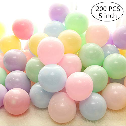 Mini Pastel Balloons 200PCS 5 Inch Pastel Color Balloons, Assorted Macaron Candy Colored Latex Party Balloons for Wedding Birthday Baby Shower Party Decor Supplies Arch Balloon Tower Balloon - 5 Inch Pastel