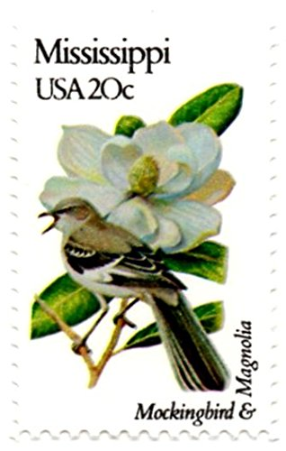 USA Postage Stamp Single 1982 Mississippi State Bird And Flower Issue 20 Cent Scott #1976
