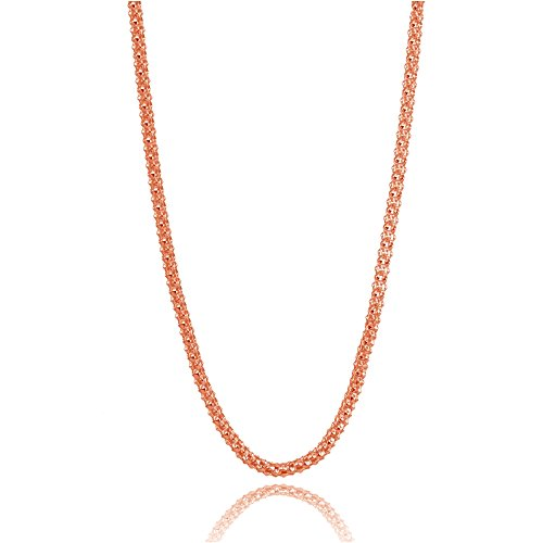 Rose Gold Flashed Sterling Silver 1.5mm Popcorn Chain Necklace, 20 Inches ()