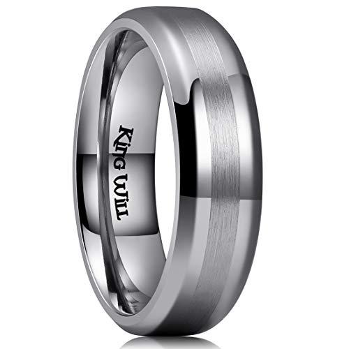 - King Will Classic Men's 6mm Titanium Ring One Tone Matte Finish Brushed Center Wedding Band Beveled Edge 8