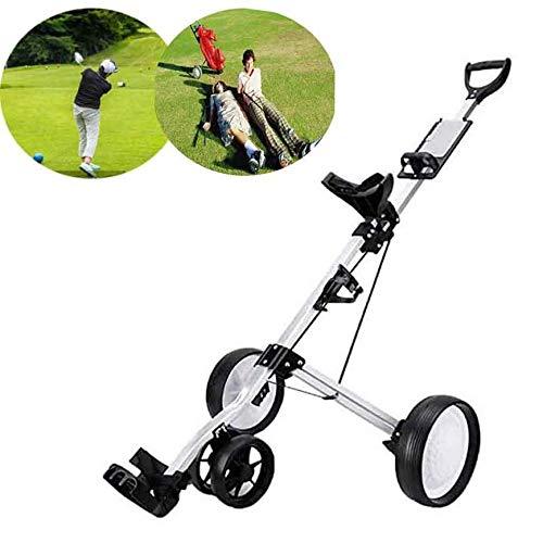 XFY Golf Push Cart 4 Wheel Collapsible Golf Trolley, Golf Push/Pull Cart, Golf Trolley, Swivel Foldable Golf Cart