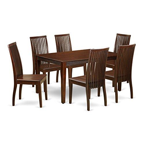 East West Furniture CAIP7-MAH-W Dining Set, Large, Mahogany