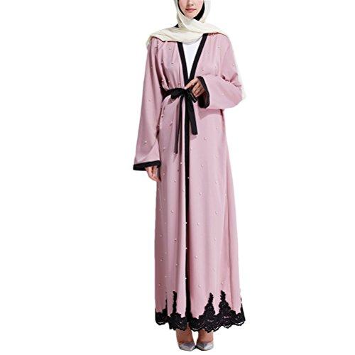 Abaya Arab Lace Robes Waistband Dress Musulmane Femme Malay Zhhlaixing East Ramadan with Robe Dubai Dresses Pink Middle 7Pw1R