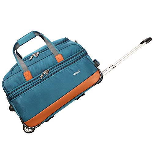 alfisha  Expandable  Lightweight Duffle Travel Trolley Bags Durable Upright Luggage Excaliber Duffel Strolley Bag  Sky Blue