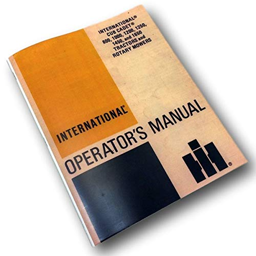 International Cub Cadet Tractor Model 1200 1250 Owner Operator Manual Lawn Mower