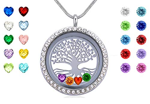 Beffy Famliy Tree of Life Necklace Floating Charms Memory Locket DIY Pendant with 24 Birthstones for Mom Mother Grandma Nana Aunt Niece Daughter Sister Friends