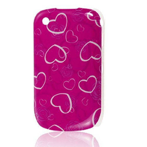 Fuchsia Berry (Fuchsia Plastic White Heart Print IMD Back Case for Blackberry 8520)