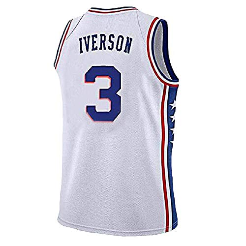 Mens Iverson Jersey Philadelphia 3 Basketball Jersey Allen Adult Sports Jerseys(S-XXL) (XL, White)