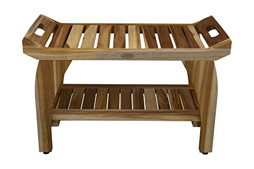 EcoDecors EarthyTeak 29 Inch Tranquility Teak Eastern Style Shower Bench with Shelf and Arms- Patented