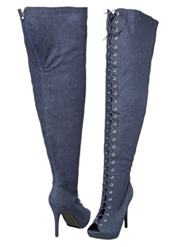 Orly Shoes Wide Width & Extended Calf Lace Up Thigh High Franch Peep Toe Boots in Denim Size: 9W
