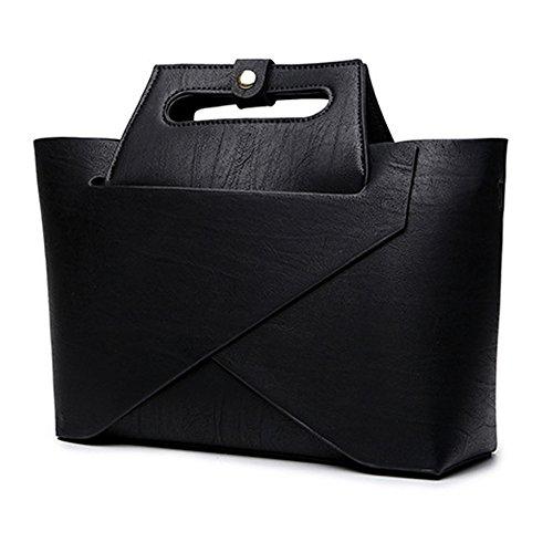 Wewod 2 Piezas Conjunto Moda Bolsas de PU Cuero Con Asas Bolsos Bandoleras Bolso Messenger para Mujer 26 x 20 x 10 cm (L*H*W) Negro