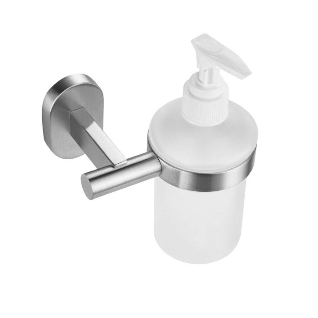 LNNA Soap Dispenser and Holder, Frosted Glass, Wall Mounted Drilling, 304 Stainless Stee Polished Finish - Chrome Plated (Color : A)