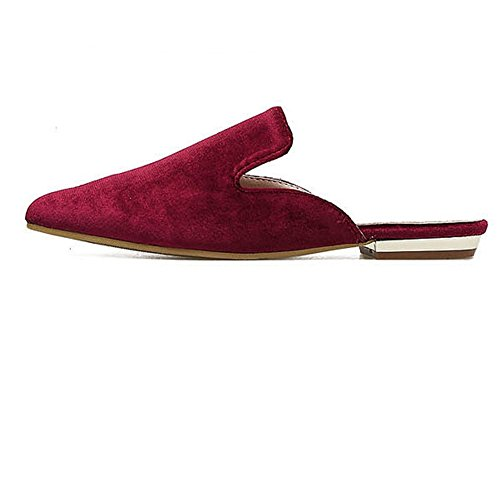 Toe Womens Mule Backless Red Shoes Loafers On Slip Pointed Slipper CYBLING dYpq1xd
