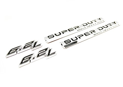 Truck Emblem Warehouse 2 NEW CUSTOM CHROME FORD 17-19 6.2L V8 SUPER DUTY BADGES EMBLEMS SET PAIR