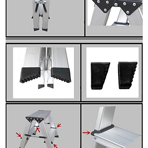 LXF Step stool Step Stool Household Folding Step Stool Aluminum Alloy Kitchen Living Room Bedroom Multifunction Small Ladder Chair by Step stool (Image #6)