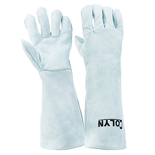 Colyn Heat & Fire Resistant Welding & BBQ Gloves, Premium Cowhide Leather Mitts For ARC TIG MIG Welders BBQ Oven Grilling Gardening Fireplace Stove Pot Holder, 14 in & 18 in, Gray (18 Inch (length)) by Colyn (Image #6)