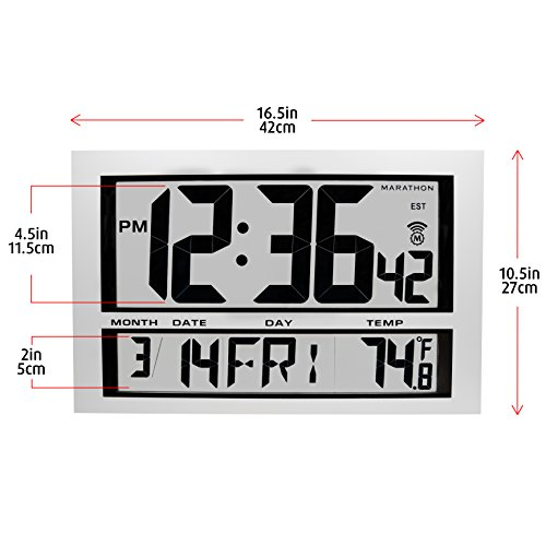 Marathon cl030025 commercial grade jumbo atomic wall clock with 6 marathon cl030025 commercial grade jumbo atomic wall clock with 6 time zones indoor temperature date amazon electronics gumiabroncs Choice Image