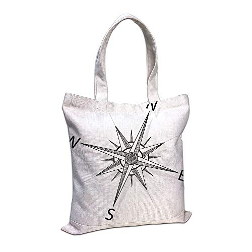 Cotton Linen Tote Bag, Compass,Black and White Compass for Finding Your Way on The Sea Marine Life Exploration,Black White,for Shopping Camping School Casual Pocket