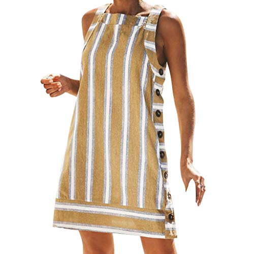 HYIRI O-Neck Loose Dress,Women's Ladies Striped Buttons Summer Dress Yellow ()