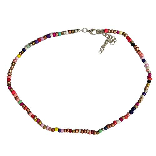- Evangelia.YM Chocker Necklaces for Women Fashion Retro Simple Multicolor Rice Beads Short Adjustable Necklace Ladies Boho Hawaii Jewelry Gift (Multicolor)