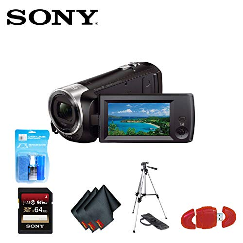 Sony HDR-CX405 Camcorder + Sony 64GB SD Card, Microfiber Cleaning Cloth, Tripod, SD Card Reader and LCD Cleaning Kit -  SONB012070882
