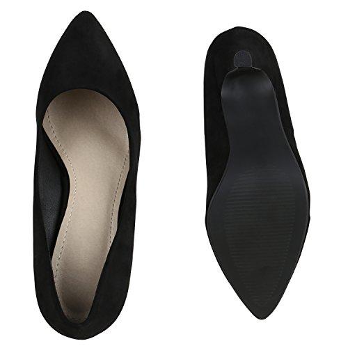 Spitze Damen Pumps High Heels Stilettos Klassische Abendschuhe Veloursleder-Optik Schuhe Schnallen Kroko Prints Flandell Schwarz Velours
