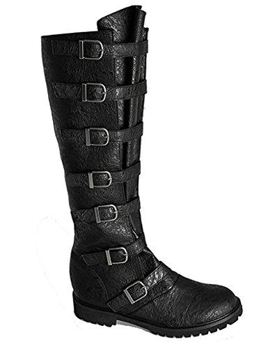 Military Combat Renaissance Faire Cosplay Steampunk Western Mens Boots (Small (8-9)) (Mens Renaissance Boots)