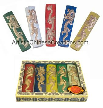 Chinese Art Supplies - Chinese Painting / Calligraphy Supplies: Chinese Calligraphy / Painting Ink Stick Set - Dragon (Five Colors)