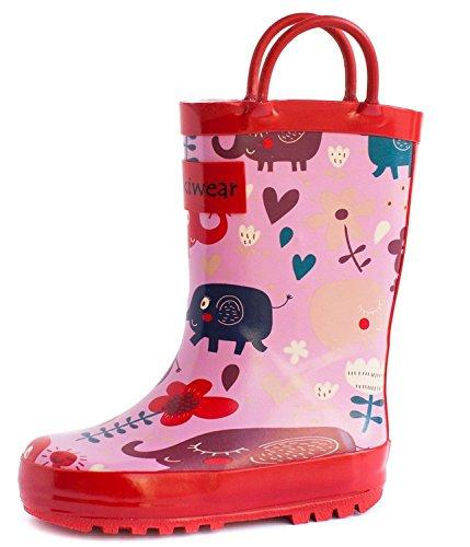 OAKI Kids Rubber Rain Boots Easy-on Handles, Pink Elephants, 10T US Toddler (Toddler Croc Rainboots)