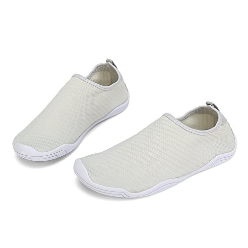 FCKEE Water Shoes Aqua Schuhe Slip-On Barfuß Leicht Leicht Quick-Dry Drainage Haltbare Sohle Mutifunktional für Beach Pool Surfen Frauen Männer T-Licht Grau